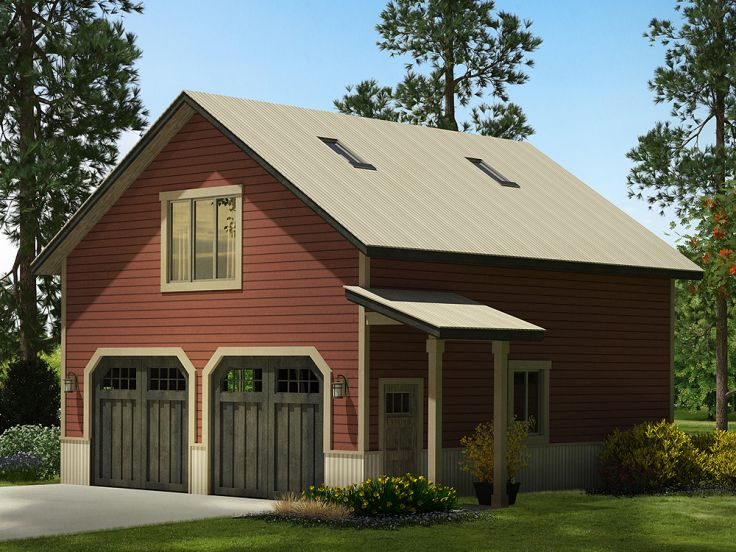 Garage plans with loft country style 2 car garage plan for Garage architectural plans