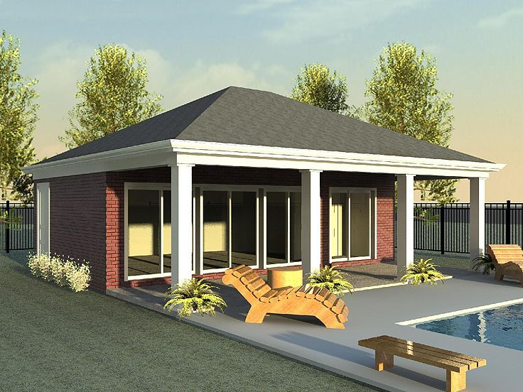 Plan 006p 0018 garage plans and garage blue prints from for Pool house plans with garage
