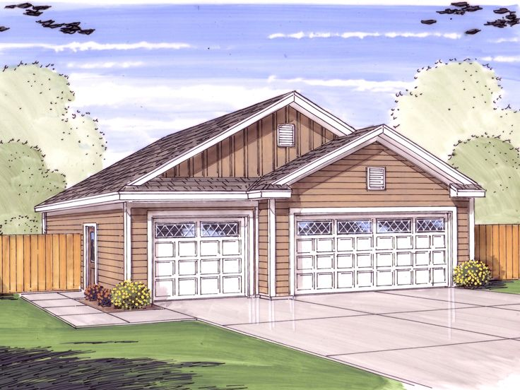 Tandem garage plans tandem garage plan parks 6 cars for How large is a 2 car garage