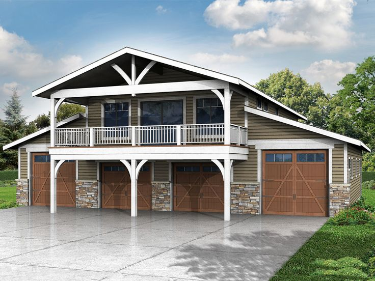 6 car garage plans 6 car garage plan with recreation for Two car garage with loft cost