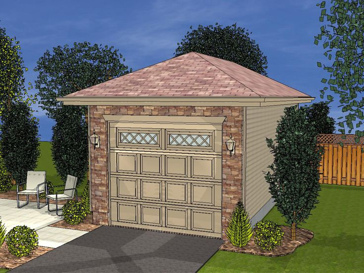 1 Car Garage Plans Detached One Car Garage Plan With Hip