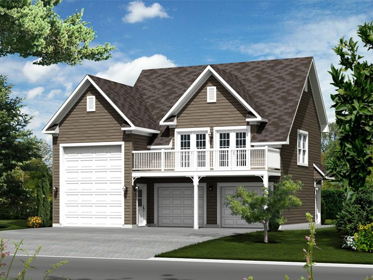 Garage Apartment Plans | Two-Car Garage Apartment Plan with RV Bay ...
