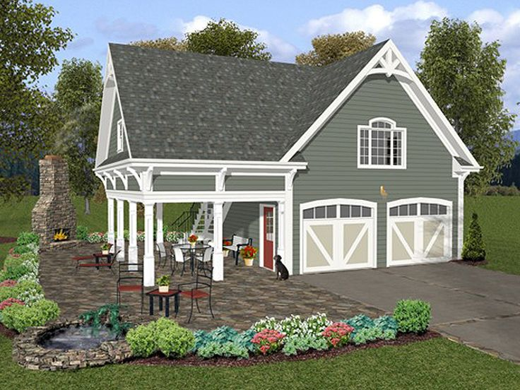 Garage loft plans two car garage loft plan with covered porch design 007g 0004 at - Garage plans cost to build gallery ...