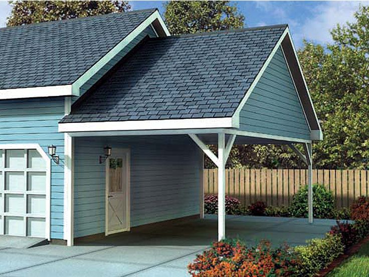 Portable Aluminum Carports Off Side Of House : Plan g garage plans and blue prints from