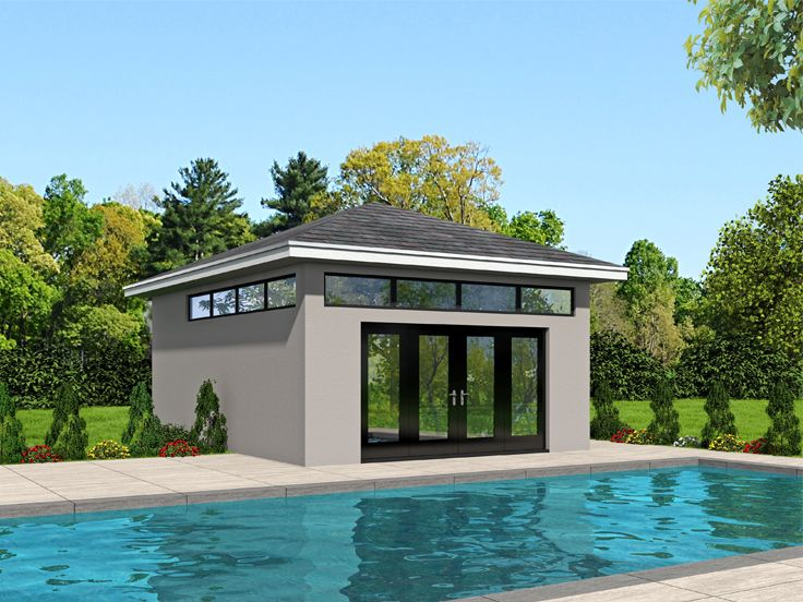 pool house plans modern pool house or studio 062p 0004. Black Bedroom Furniture Sets. Home Design Ideas