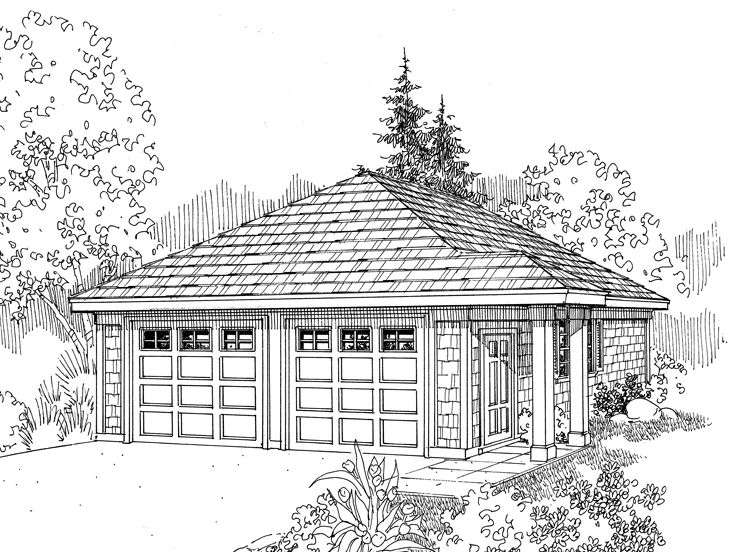 Two Car Plans 2 Car Garage Plan With Hip Roof Design