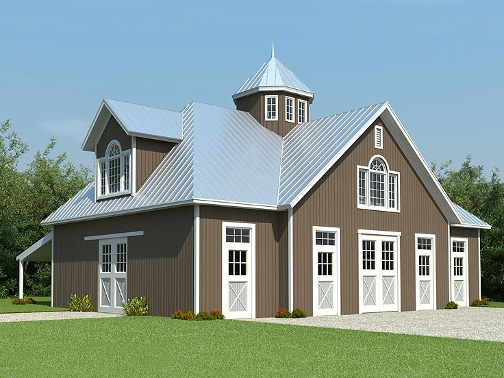 Horse barn plans horse barn outbuilding plan 006b 0003 for Shop with apartment