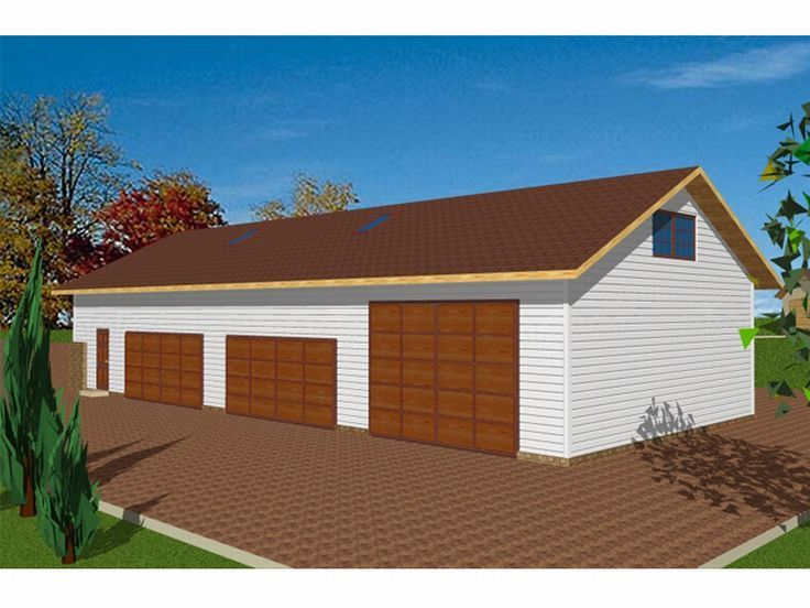 Garage plans with flex space four car garage plan with for Four car garage house plans