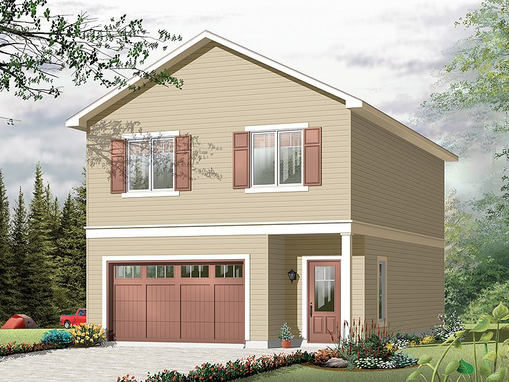 Garage apartment plans carriage house plan and single for Two car garage with apartment on top