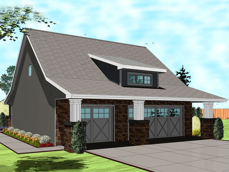 Garage Apartment Plans | Craftsman-Style 3-Car Garage Apartment ...