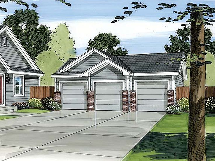 3 car garage plans traditional three car garage plan for Three car detached garage plans