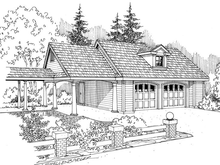 Garage Plan with Carport, 051G-0015