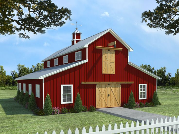 Barn plans horse barn plan with living quarters 001b for Free barn plans with loft