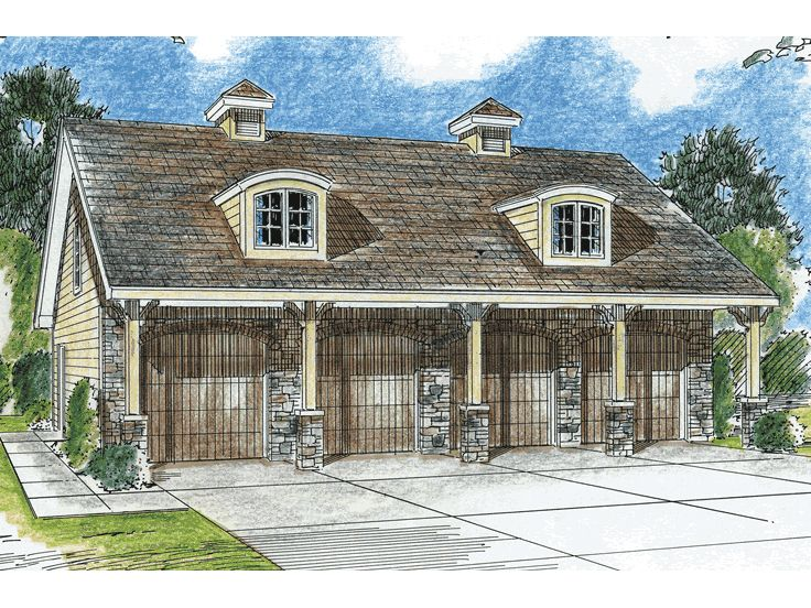 4-Car Garage Plans | European-Style Four-Car Garage Plan Design ...