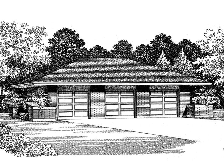 3 Car Garage Plans Three Car Garage Plan With Hip Roof 057g 0016 At Www Thegarageplanshop Com