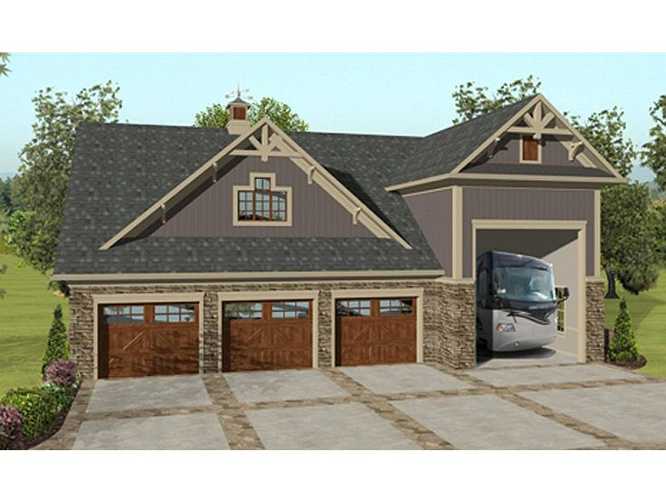Garage apartment plans garage apartment plan with rv bay for Plans for 3 car garage with apartment above