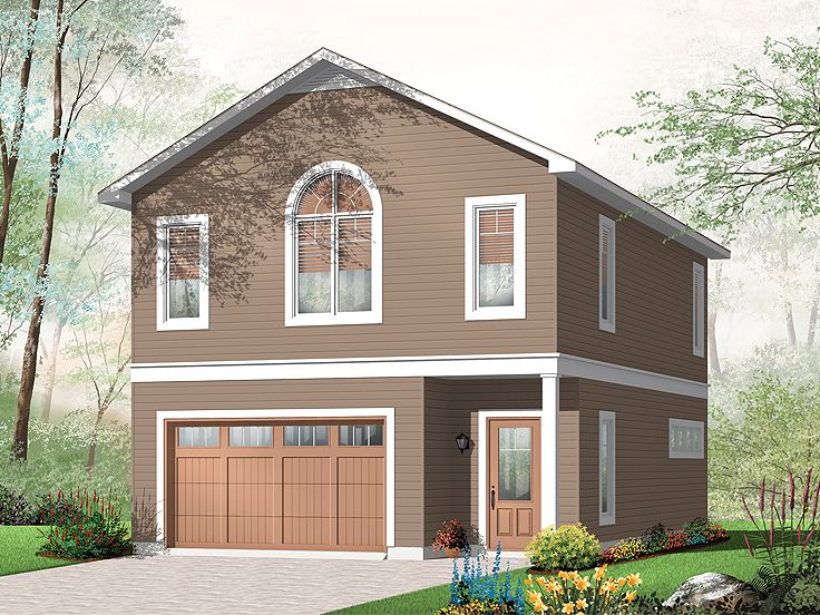 Garage apartment plans carriage house plan with 1 car for Oversized one car garage