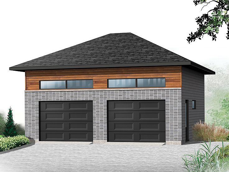 2 car garage plans modern two car garage plan 028g for Contemporary garage apartment plans