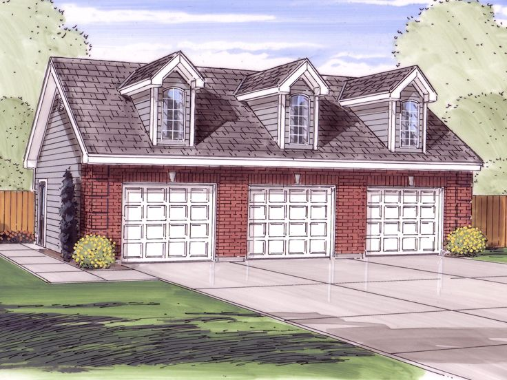 3 car garage plans detached three car garage plan with for Five car garage
