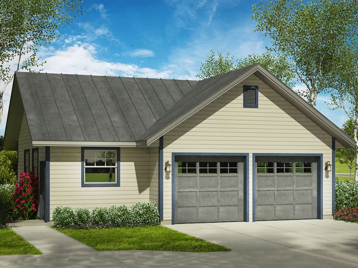 Garage workshop plans two car garage plan with separate for Two car garage with workshop plans