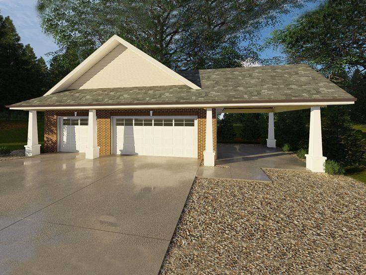 Garage Plans With Carport 3 Car Garage Plan With Carport Design 050g 0032 At Thegarageplanshop Com
