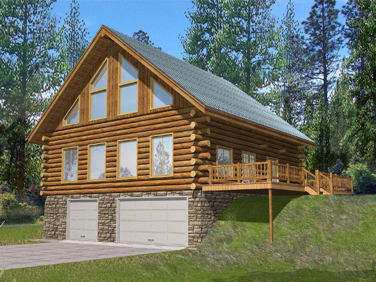 Plan 012g 0076 garage plans and garage blue prints from for Log cabin house plans with garage