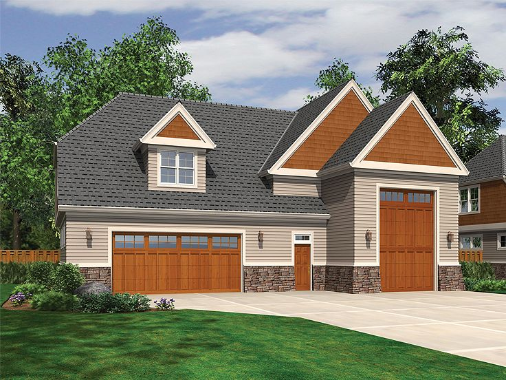 Rv garage plans rv garage plan with loft 034g 0015 at for Rv garage with living quarters