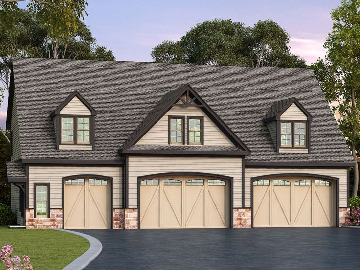 4 car tandem garage house plans - Garage House Plans