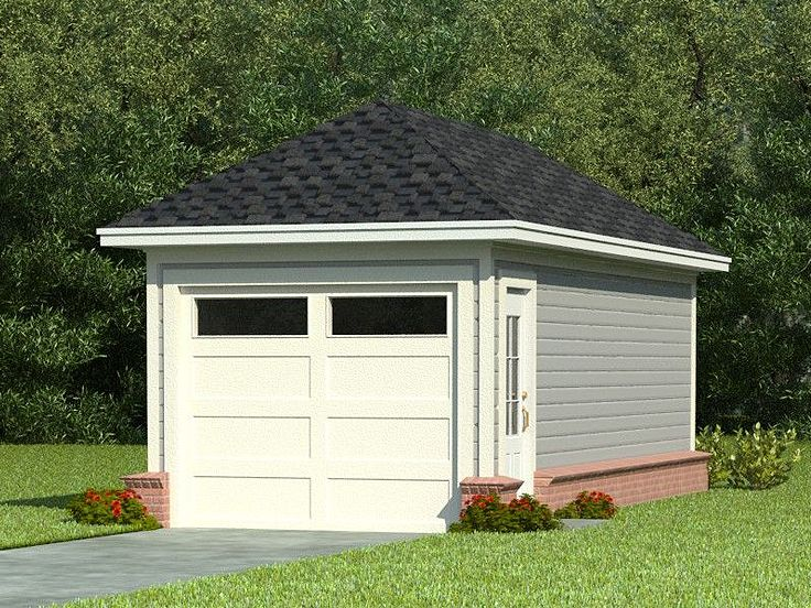 One car garage plans single car garage plan with hip for Single car detached garage plans