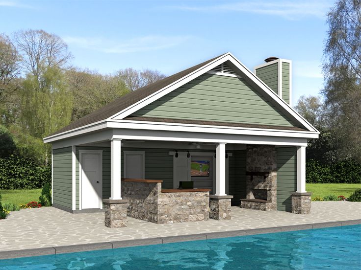Pool House Plan, 062P-0008