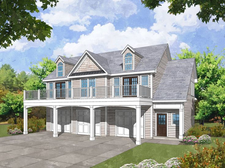 Garage Apartment Plans | Carriage House Plan with 3-Car ...