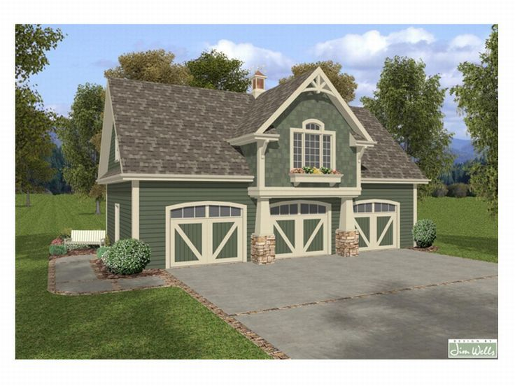 Carriage house plans craftsman style carriage house with for Three car garage house plans