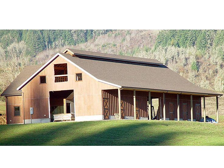 Horse Barn Plan, Rear, 051B-0002