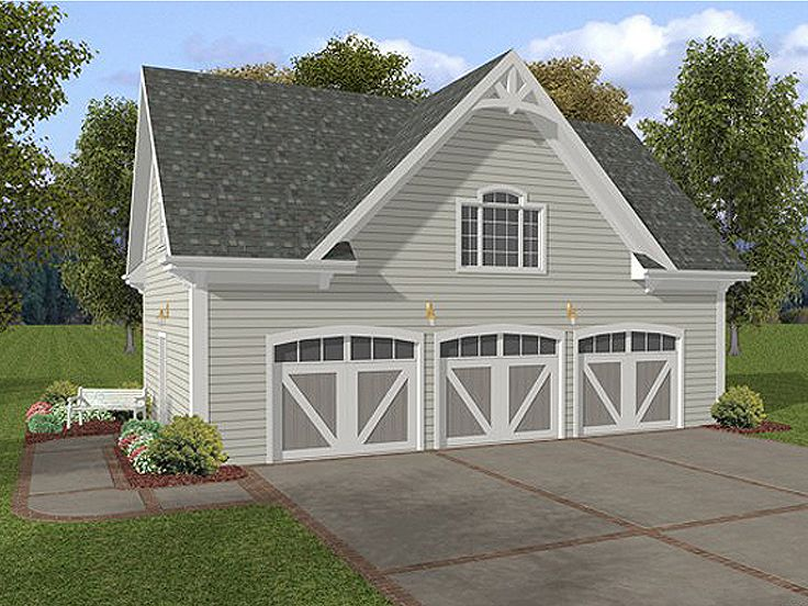 Three-Car Garage Loft Plan With