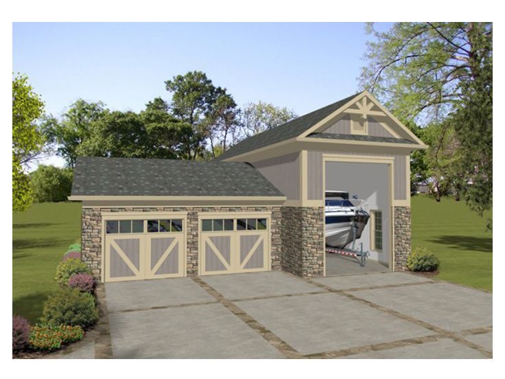Boat storage garage plan boat storage or rv garage for Garage plans with boat storage