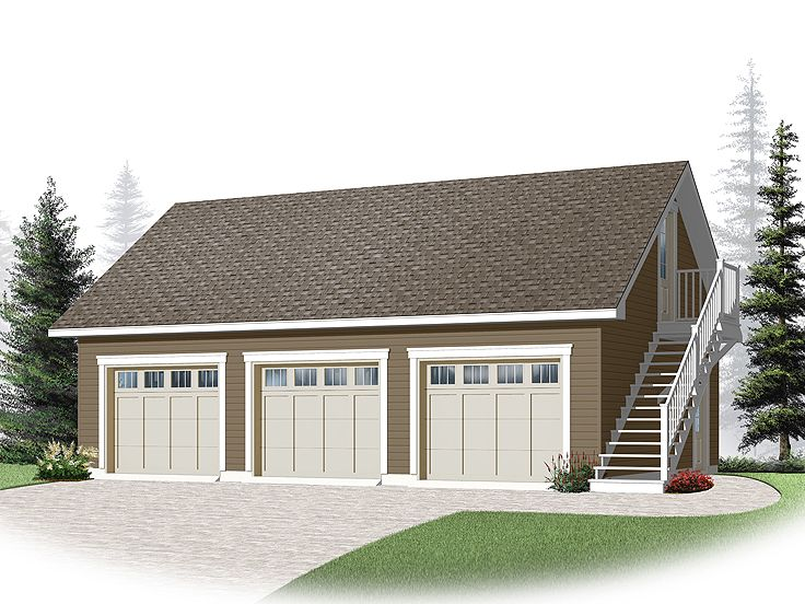 Three car garage plans 3 car garage loft plan with cape for Three car garage house plans