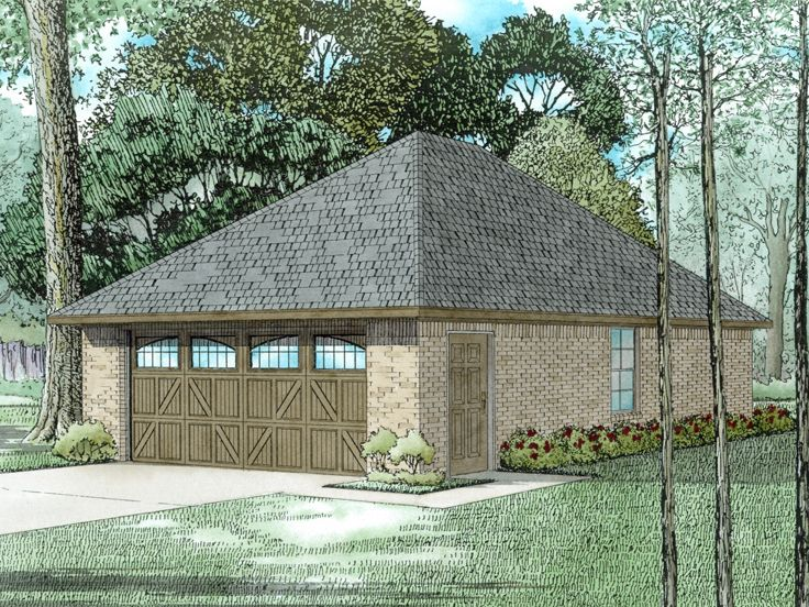 Garage plan with boat storage two car garage plan with for Boat storage garage