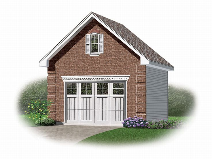 1 car garage plans one car garage plan with loft 028g for Single car garage plans