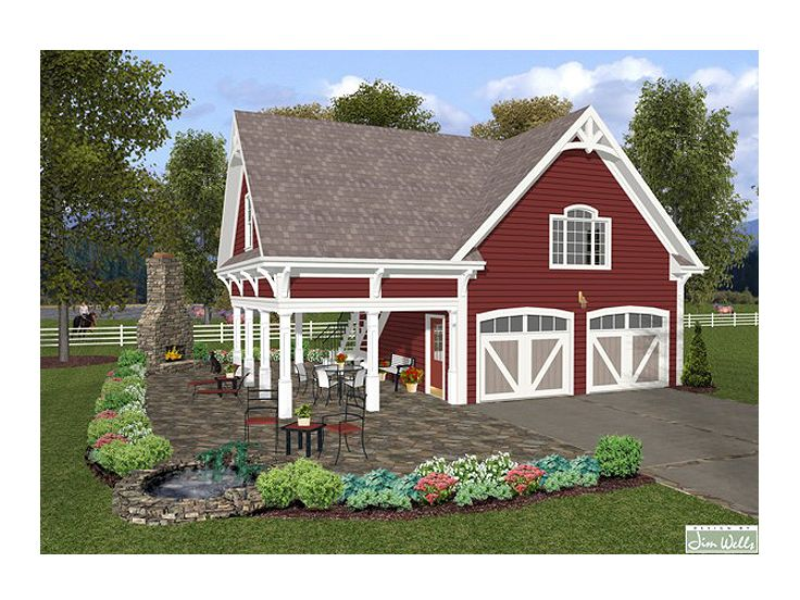 Carriage house plans 1 bedroom garage apartment 007g for 1 bedroom garage apartment