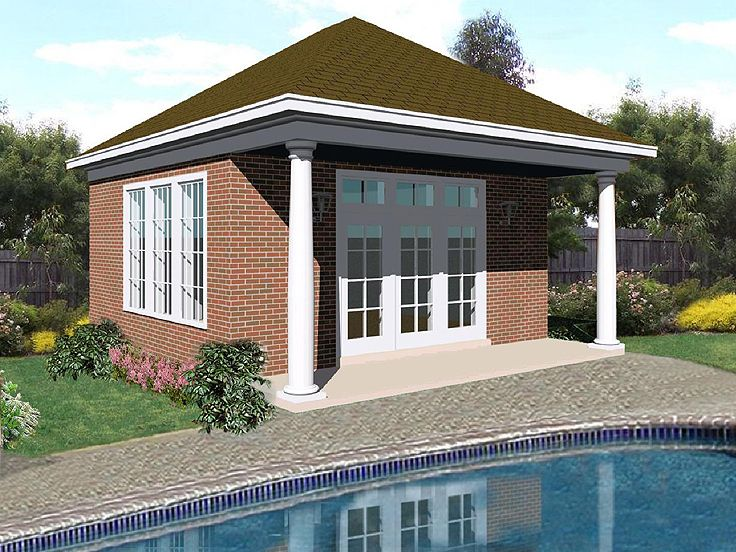 Plan 006p 0004 garage plans and garage blue prints from for Garage pool house combos