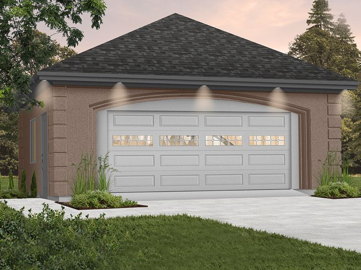 Two Car Garage Plans 2 Car Garage With Hip Roof Plan 028g 0005 At Www Thegarageplanshop Com
