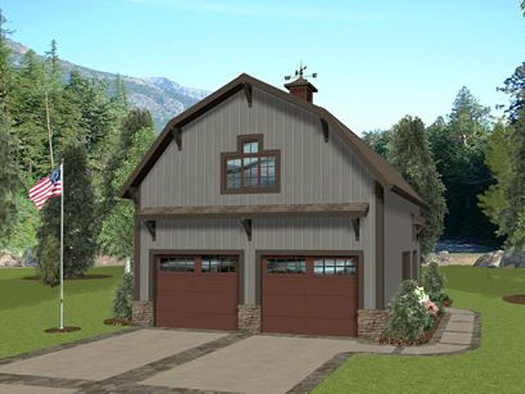 Carriage house plans barn style carriage house plan with for Barn shaped garage