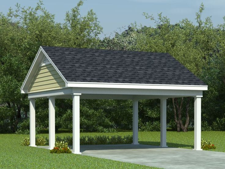 Carport plans 2 car carport plan with support posts for Garage plans with carport