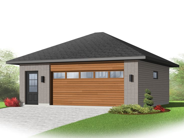 2 car garage plans modern two car garage plan 028g for How big is a two car garage