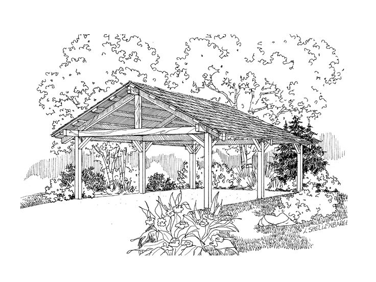 2-Car Carport  Plan, 051G-0048