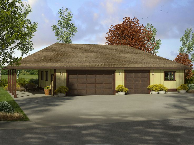 Garage plans with carport three car garage plan with for Carport with attached workshop