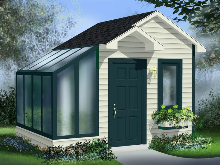 Garden Shed Plans | Garden Shed with Greenhouse # 072S-0020 at ...