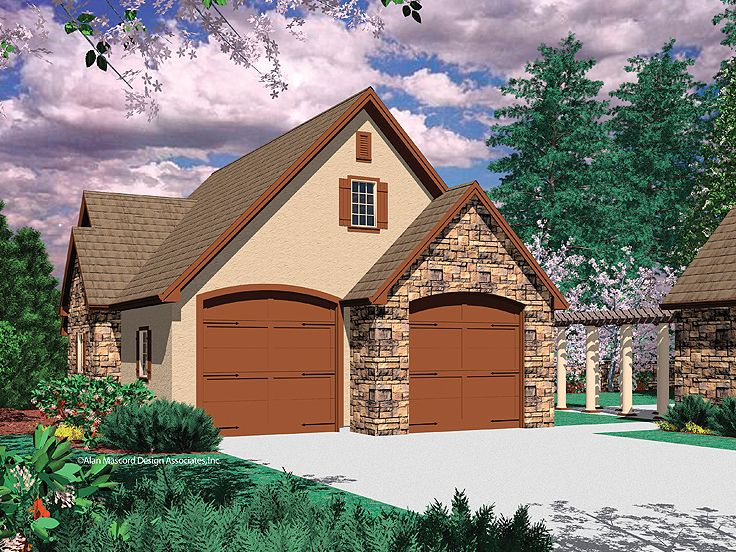 4-Car Tandem Garage Plan, 034G-0013