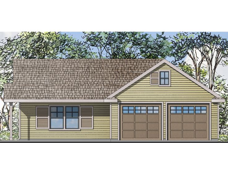 Garage plan with flex space two car garage plan with for Garage with living quarters one level