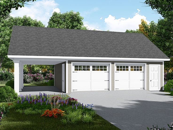 Garage Plans With Carport 2 Car Garage With Carport Plan